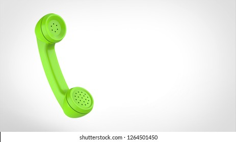 telephone receiver green left 3d rendering