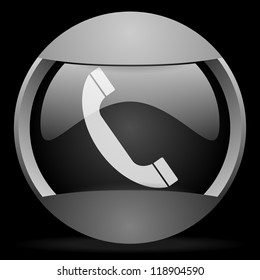 telephone round gray web icon on black background