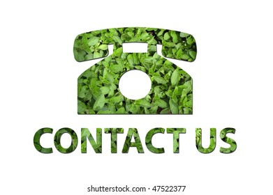 A telephone symbol with the text contact us made out of green leaves to be used by a company to symbolize ecology or enrivoNmental concerns.