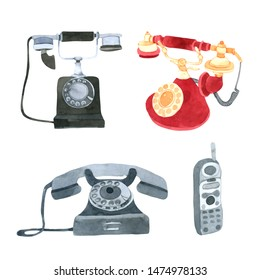 Telephone watercolor collection on white background Hand drawn painting