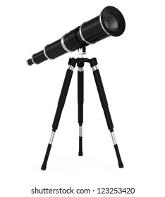 telescope isolated on white background. 3d rendered image