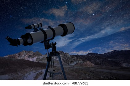telescope on a tripod pointing at the night sky, 3d illustration