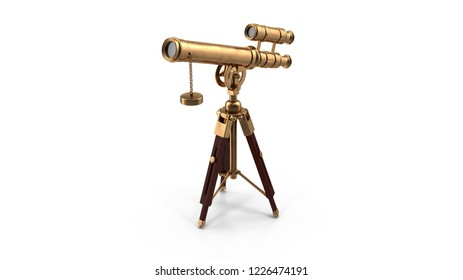 Telescope on white background. 3D illustration.