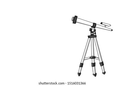 telescope symbol with tripod stand, simple flat style isolated on white background. illustration icon