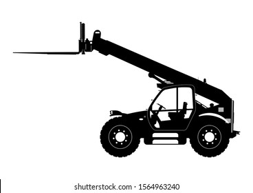Telescopic handler. Silhouette of telehandler. Side view. Raster.