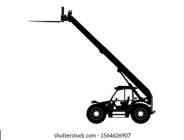 Telescopic handler. Telehandler silhouette. Side view. Raster.