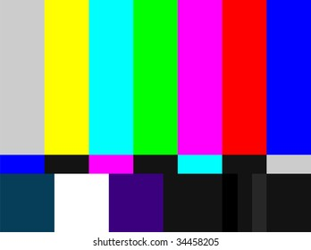 Television colored bars signal. Test signal at the introduction and the end of the TV programming.