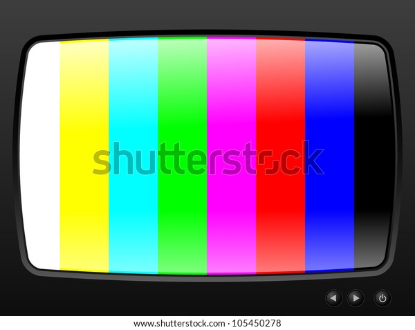 Television with test image closeup - RASTER version