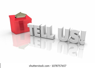 Tell Us Suggestion Box Feedback Word 3d Illustration