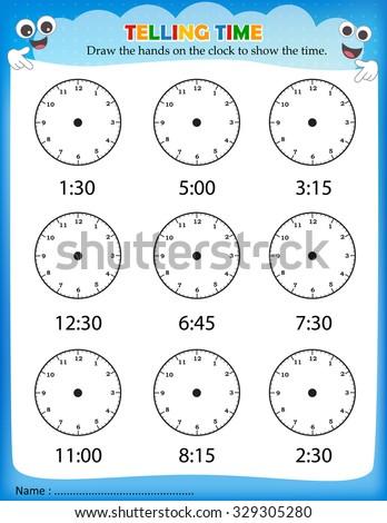 Telling Time Worksheet Pre School Kids Stock Illustration 329305280