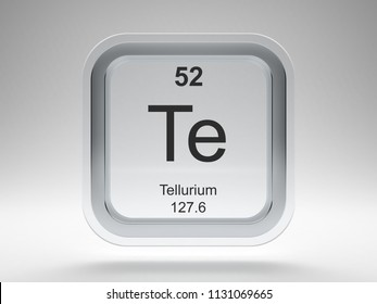 Tellurium symbol on modern glass and metal rounded square icon 3D render