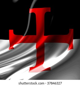 templar cross on a black and white flag
