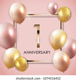 Template 1 Years Anniversary Background with Balloons  Illustration