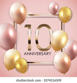 Template 10 Years Anniversary Background with Balloons  Illustration
