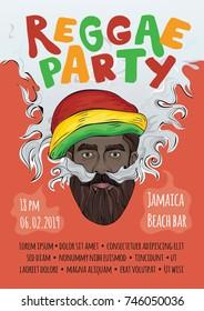 Template of advertising poster for reggae music concert or party. Black man in rasta hat making smoke cloud. Rastaman smoking marijuana. Illustration. Raster version.