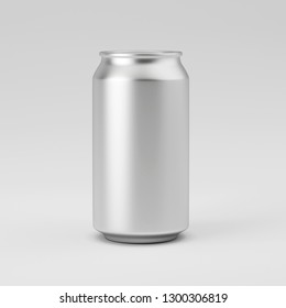 Template aluminum soda can on gray background, mockup, can for beer and carbonated drinks. 3D rendering.