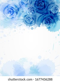 Template background with watercolored abstract floral roses. For wedding, bridal shower, baby shower, birthday card, invitations etc. Blue colored.
