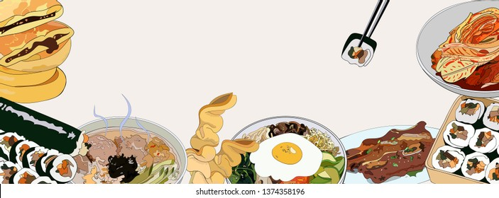 Template banner with a set of Korean dishes for websites or social network. Traditional Korean dishes bibimbap, hotteok, kimchi, oden, galbi-gui, guksu, gimbap. hand drawn illustration.