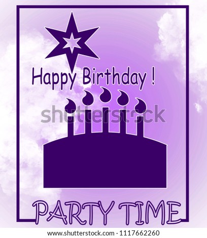 Template For Birthday Card With Cake And Candles