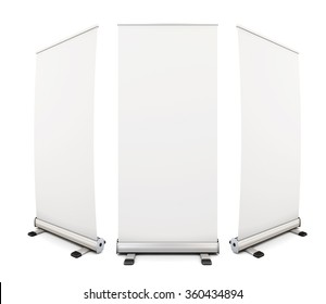 Template blank roll up banner display on white background. 3d rendering.