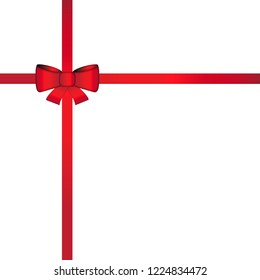 Template  of bow and red gift ribbon on white background