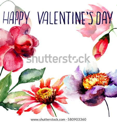 Template for card with flowers with title Happy Valentine day, watercolor illustration