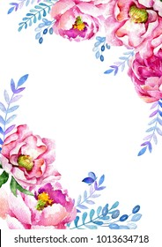 Template for a card or invitation, made up of watercolors of pink and purple flowers and supplemented with blue branches and berries