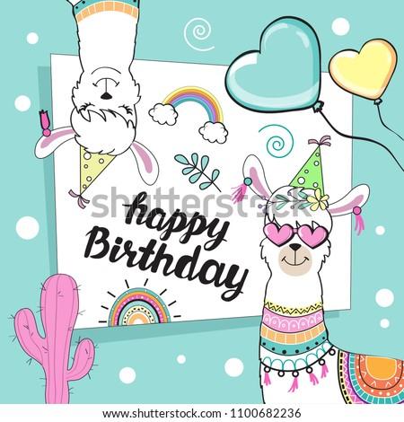 Template Card Pretty Llamas Happy Birthday Stock Illustration