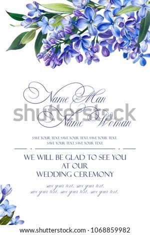 template congratulations invitations wedding blue colors stock