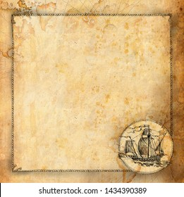 Template design in the old nautical style. Flyer, invitation, advertising in the pirate style on the background of the old map. Drawn by hand.