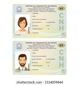 Template of  driver license plastic card for Brasil
