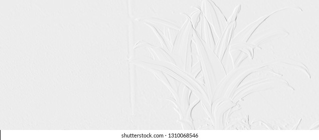 Template of embossed leaves with background light grey, illustration can be use as banner,screen saver or wallpaper and have copy space for text