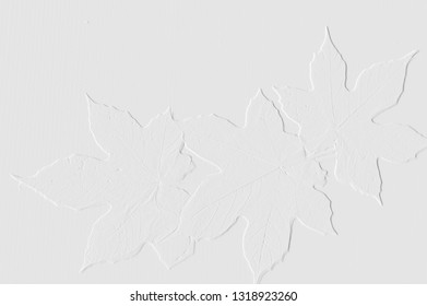 Template of embossed leaves with light grey background can be use as wallpaper paper note useful background and card