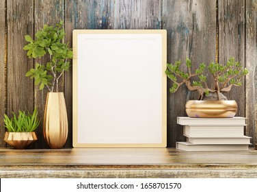 Template of an empty frame on the table with houseplants. Wooden wall in the background. Poster for photos and inscriptions. 3D rendering.
