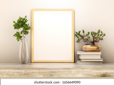 Template of an empty shelf poster. Homemade plants. Empty poster for photos and inscriptions. 3D rendering.