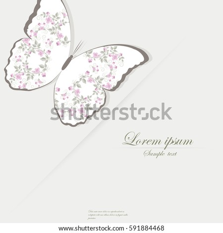 Template For Folder Brochure Business Card And Birthday Invitation With Butterfly Blooming Flowers