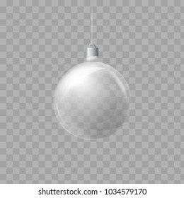 Template of glass transparent Christmas ball. Stocking element christmas decorations. Transparent object for design, mock-up. Shiny toy with silver glow. Isolated object. illustration