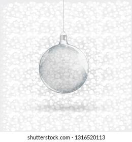Template of glass transparent Christmas ball.