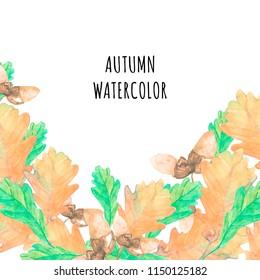template greeting card cartoon watercolor fallen fallen autumn leaves tree oak, acorns on white background