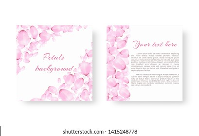 Template greeting card with falling cherry petals on a white background