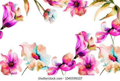Template for greeting card with spring flowers, Watercolor painting, Hand painted drawing.
