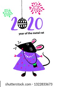 Template image violet mouse with black head, rat, mice on white background. Lunar horoscope sign 2020 Chinese Happy new year. Funny sketch mouse with long tail. illustration.