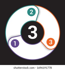 Template for infographics, colorfull pie chart from lines for 3 positions on  black background