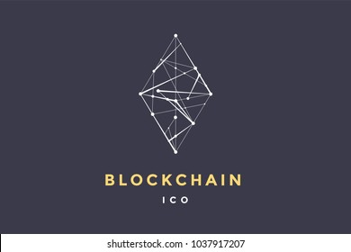 Template label for blockchain technology. Rhombus with connected lines for brand, label, logotype of smart contract block symbol. Design for decentralized transactions. Illustration