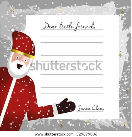 template letter santa claus blank your stock illustration 529879036