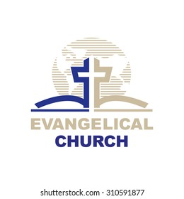 Template logo for churches and Christian organizations cross on the bible. Logo with the Christian symbols of the cross and the Bible.
