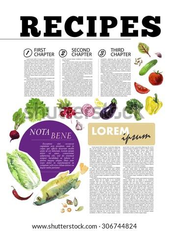 template magazine article recipe design bright stock illustration