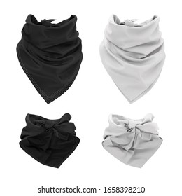 Template, mockup for design, logo, branding. Black and white bandana tied around the neck. 3d illustration of a realistic scarf, neckerchief, bandana. Front and back views.