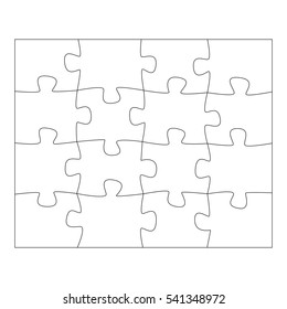 Template paper for thinking jigsaw puzzles games. Business concept infographics. Puzzle pieces and jigsaw puzzle. Graphic illustration
