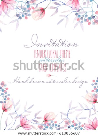 template postcard watercolor tender flowers leavesのイラスト素材
